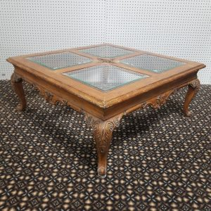 Wooden Ornate Coffee Table with 4 separate Glass Top inserts