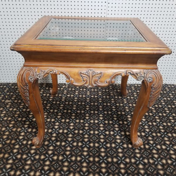 Wooden Ornate Side Table with Glass Top