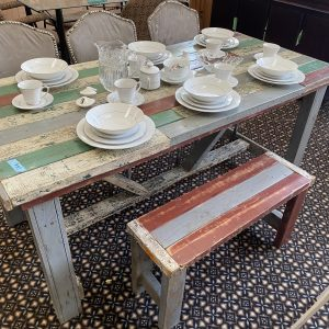 reclaimed wood shabby chic dining table